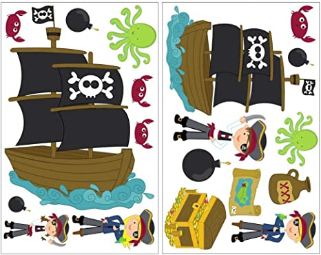 19 teiliges de pared con diseño de piratas de juego de tarjeta de cofre del tesoro con diseño de barco pirata, multicolor, 2x 21x34cm: Amazon.es: Hogar