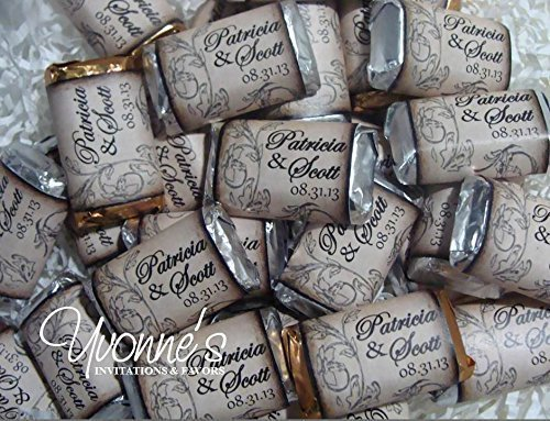 Vintage Wedding Mini Candy Bar Wrappers - Personalized Wrappers for Miniature Chocolate Bars - For Vintage Wedding, Rustic Wedding, Bridal Shower, Engagement Party ***CHOCOLATES NOT (Personalized Chocolate Bar Wrappers)