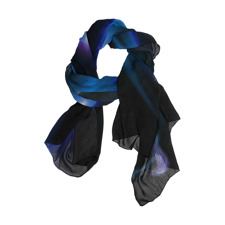 MRMIAN Galaxy Space Purple Long Lightweight Silk Chiffon Scarf Wrap Shawl Stole