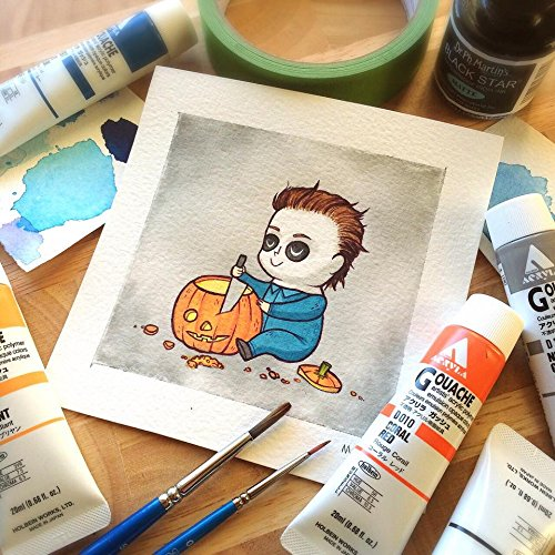Michael Myers Halloween Pumpkin Watercolor Print by Michelle Coffee (Tattoo Paper Michaels)