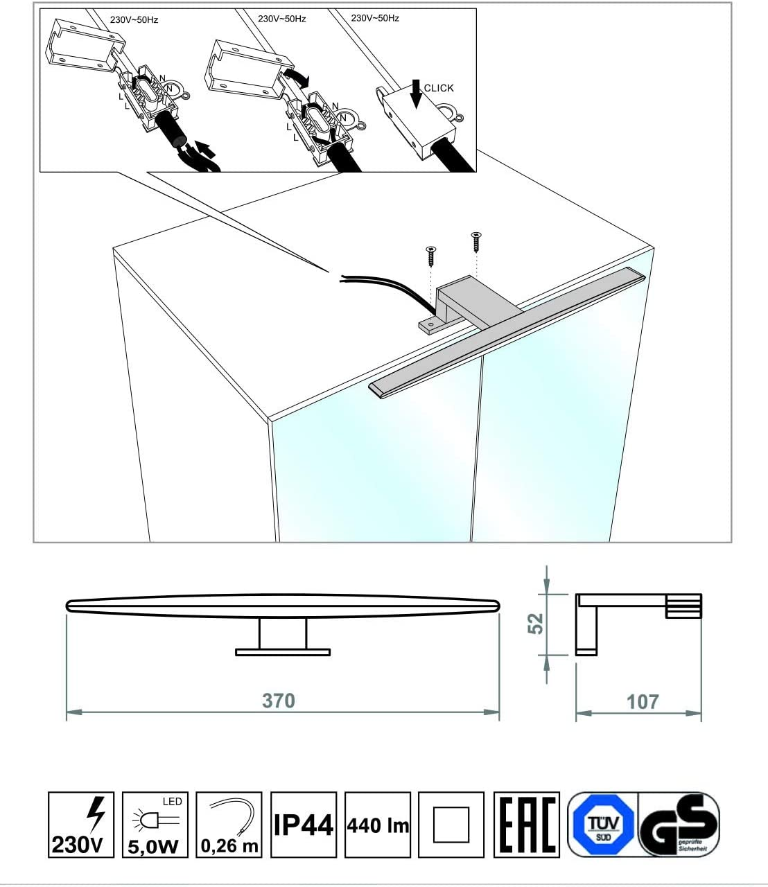 in alluminio e cromo Elli luce bianca fredda 6200 K per mobili Lampada LED per specchio Licht-erlebnisse 4200 K IP44 specchi e bagno moderno Chrom Poliert Kaltwei/ß 6200k da montare