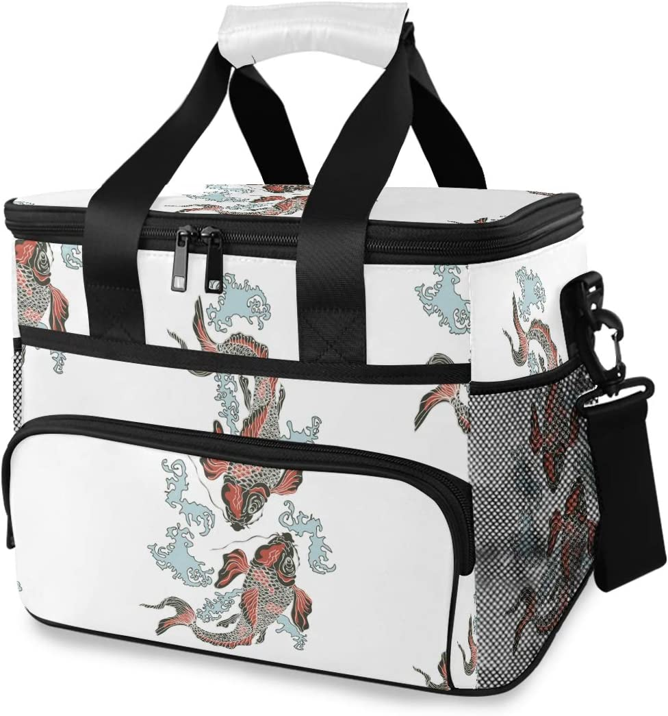 ALAZA Hand Drawn Koi Carp with Waves Large Cooler Lunch Bag, Waterproof Cooler Bag for Camping, Picnic, BBQ, Family Outdoor Activities