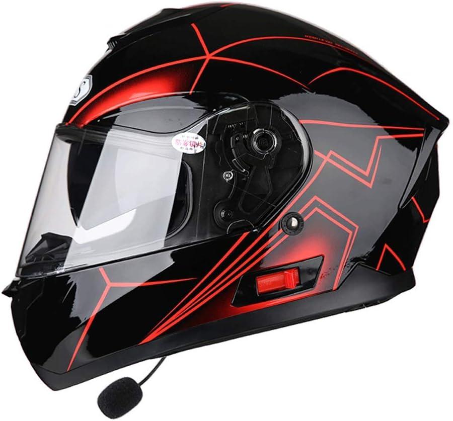 OUTO Casco Desmontable multifunción Anti-vaho Doble Lente Motocicleta Hombres y Mujeres Full Face Helmet Bluetooth Headset (Color : Red Aurora, Tamaño : L)