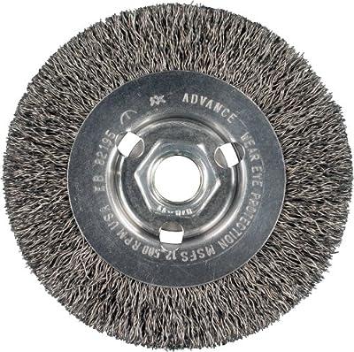 "PFERD 82195 Power High Speed Mini Crimped Wire Wheel Brush, Threaded Hole, Carbon Steel Bristles, 4"" Diameter, 0.014"" Wire Size, 5/8""-11 Thread, 12500 Maximum RPM"
