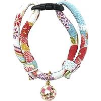 PetSoKoo Quality Chirimen Cat Collar with Clover Bell. Original Design. Japan Chirimen Style, Comfortable Durable…