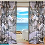 INGBAGS Bedroom Decor Living Room Decorations Wolf Pattern Print Tulle Polyester Door Window Sheer Curtain Drape Two Panels Set 55×78 inch ,Set of 2 Review
