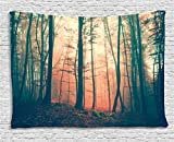 Ambesonne Mystic House Tapestry Decor, Light and Vintage Color in Mysterious Autumn Forest Decorations for Bedroom Woodland Nature, Living Room Dorm Wall Hanging, 80 X 60 Inches, Coral Dark Green