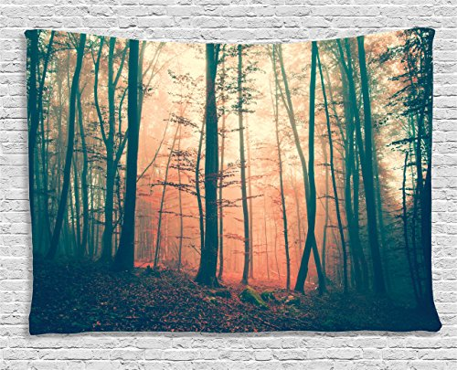 Ambesonne Mystic House Tapestry Decor, Light and Vintage Color in Mysterious Autumn Forest Decorations for Bedroom Woodland Nature, Living Room Dorm Wall Hanging, 80 X 60 Inches, Coral Dark Green by Ambesonne