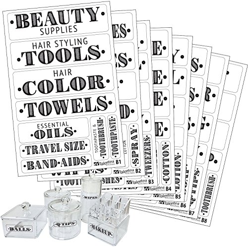 Bathroom Beauty Preprinted Labels, Organization Set. 72 Clear PVC Stickers by Talented Kitchen. 72 Water Resistant Label Set to Organize Bathroom Vanity, Cabinet & Closet (Set of 72 - Bathroom Titles) (Medicine Label)