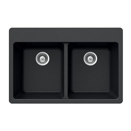 Houzer MADISON N 200 Onyx Madison Series Topmount Granite Double Bowl  Kitchen Sink, Onyx
