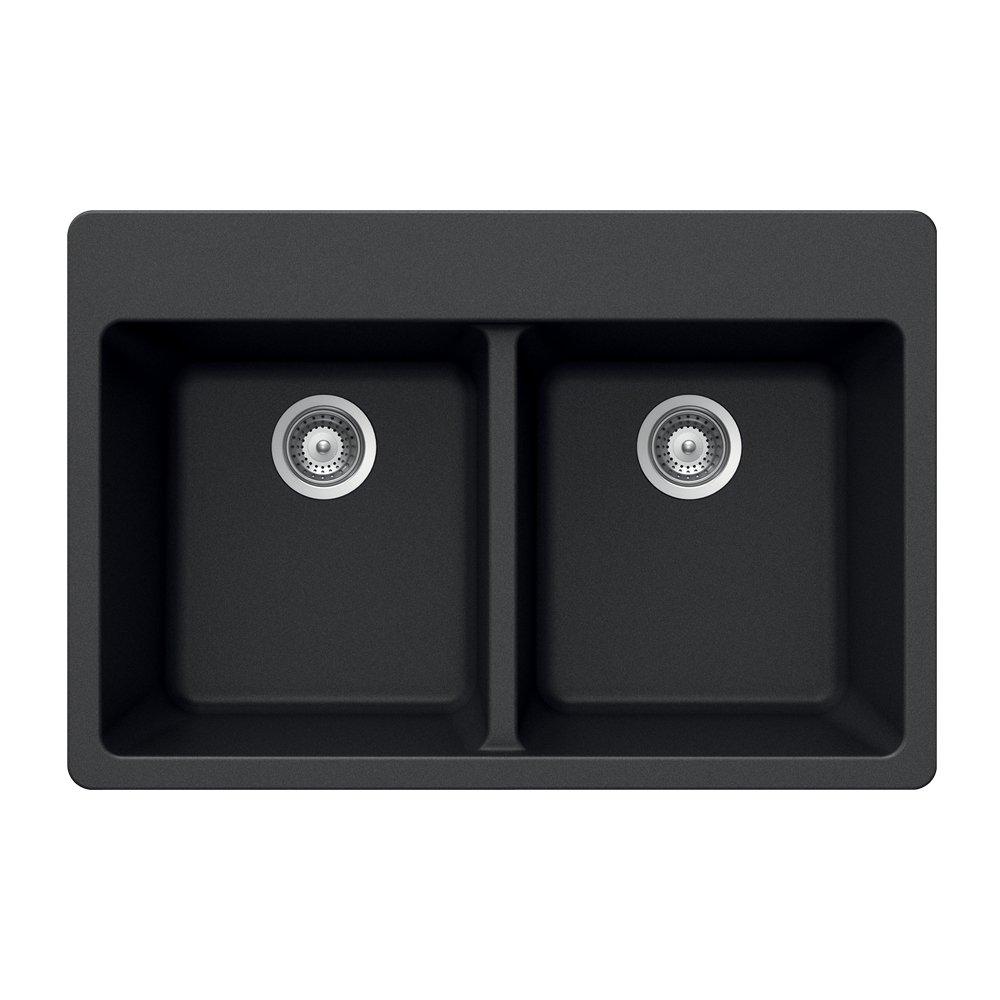 Houzer MADISON N-200 Onyx Madison Series Topmount Granite Double Bowl Kitchen Sink, Onyx by HOUZER