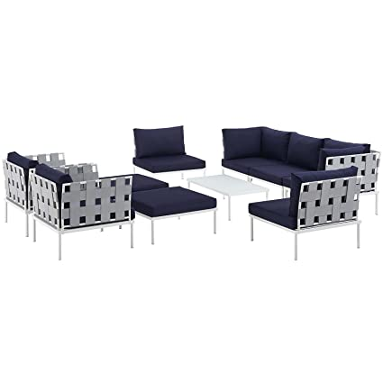 Modway Harmony 10 Piece Outdoor Patio Aluminum Sectional Sofa Set, White  Navy