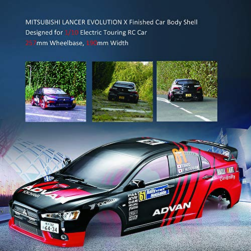 Leslaur KillerBody RC Car Body Shell Frame Kit for Mitsubishi Lancer Evolution X 1/10 Electric Touring Car RC Rally Racing DIY Parts ()