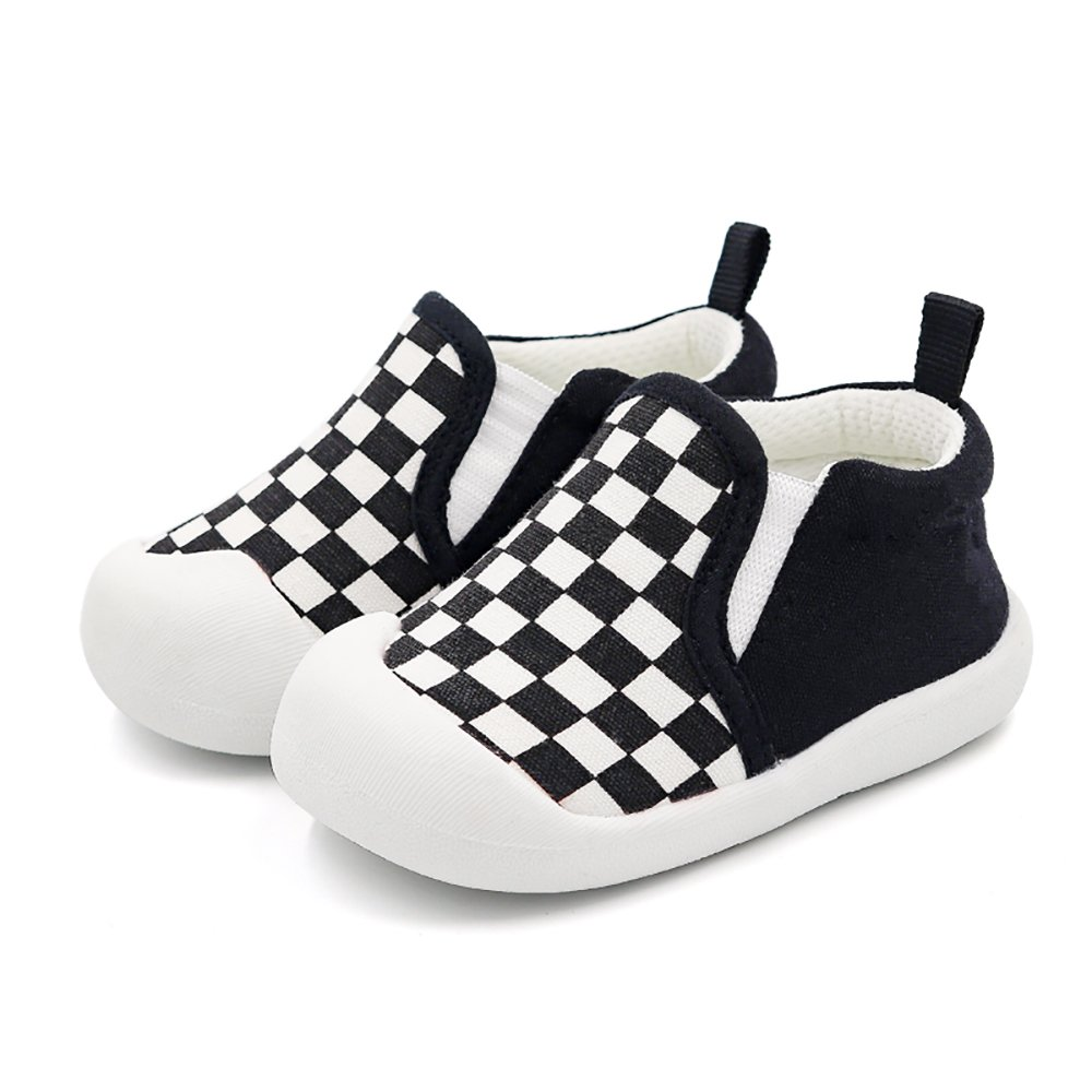 Infant Baby Boy or Girl Cotton Slip-On Soft Sole Non-Slip Casual Shoes Sneakers (6-9 Months, Black)