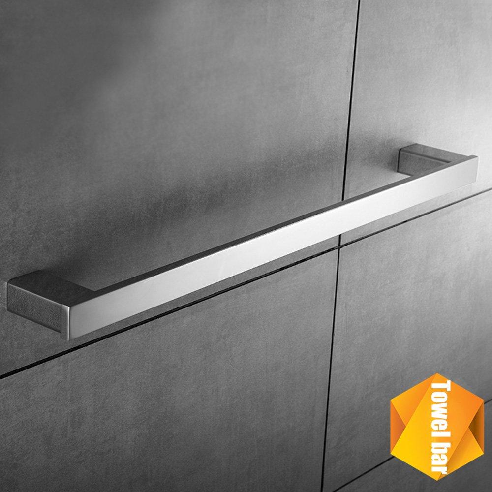 Bath Single Towel Bar Rack Contemporary Square Hotel Towel Bar Hanger Shower Hand Towel Holder Modern Heavy Duty Kitchen Shelf Hanging Rod Storage Stainless Steel Polished Chrome Wall Mount by KOOLIFT by KOOLIFT (Image #4)