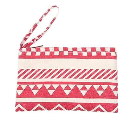 LAAT algodón Monedero Bolso de Mano portátil Cartera pequeño Bolsillo con Cierre de Cremallera 6 Colores Color 1 11 * 20