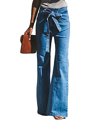 ddf9193d304 Women s Classic High Waist Denim Bell Bottoms Flare Jeans Bow Belt Long  Trousers  Amazon.in  Clothing   Accessories