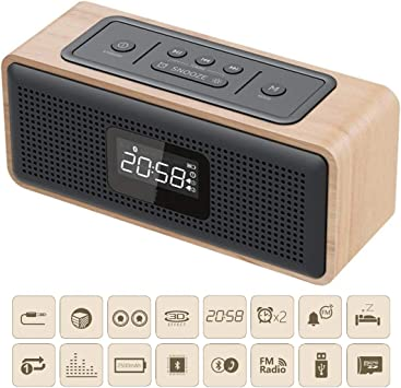 Bluetooth radio reloj altavoz portátil mini mando a distancia TF ...