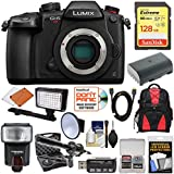 Panasonic Lumix DC-GH5S Wi-Fi C4K Digital Camera Body with 128GB Card + Battery + Backpack + Flash + Video Light + Microphone Kit