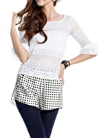 Dots Pattern Split Side Faux Leather Casual Short for Ladies