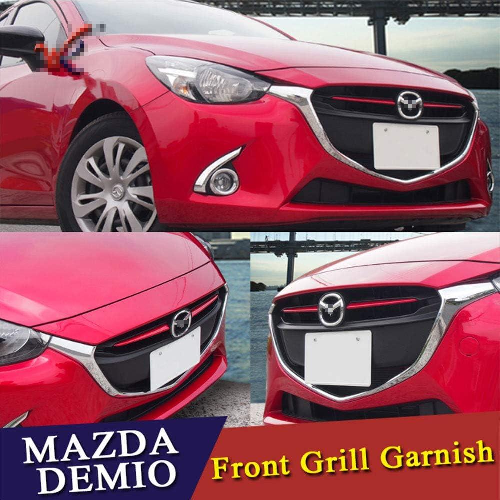 QQKLP Fit f/ür Mazda 2 Demio 2015 2016 2017 DJ DL Mazda2 Flie/ßheck Limousine Zubeh/ör Styling Chrome Frontgrill Grillabdeckung Trim Moulding