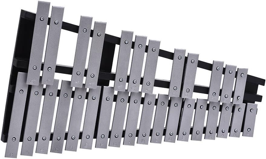 ammoon Glockenspiel Xilófono plegable de 30 notas educativas de percusión musical, marco de madera, barras de aluminio con bolsa de transporte