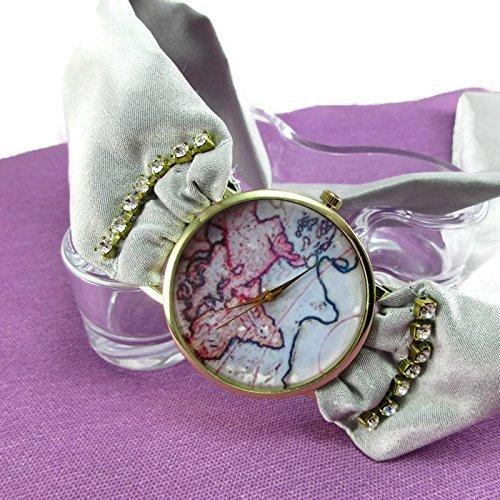 [Ladies Silk Wrap Bracelet Feminine World Map Wrist Wrapped Watch] (Easy Around The World Costumes)