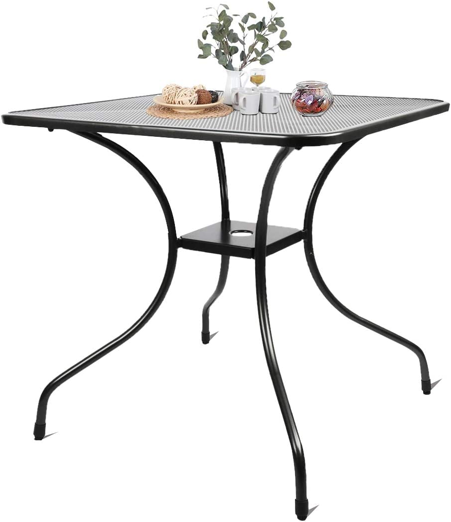"Kerrogee 27.5"" Patio Bistro Dining Table, Outdoor Cast Iron Aesthetic Square Table, Backyard Balcony Furniture Garden Table with 2'' Umbrella Hole,Black"