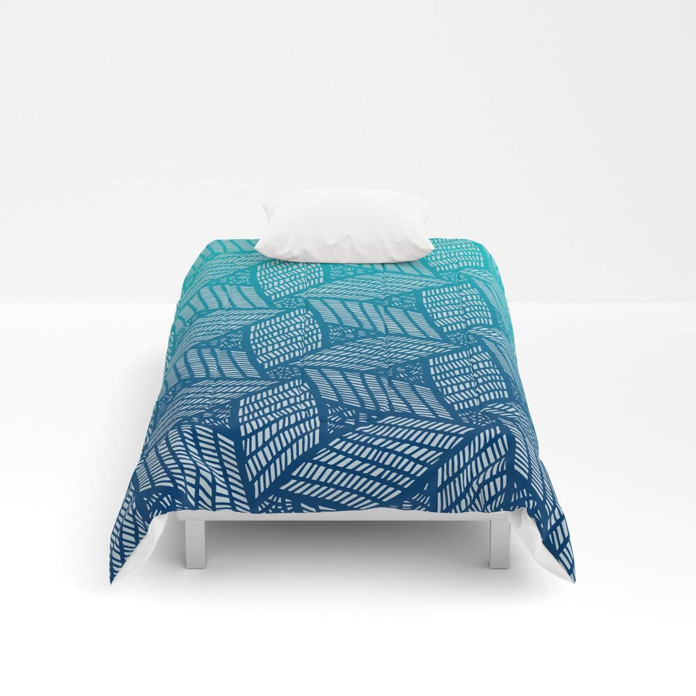 Society6 Comforter, Size Twin XL: 68'' x 92'', Japanese Style Wood Carving Pattern in Blue by mariamahar