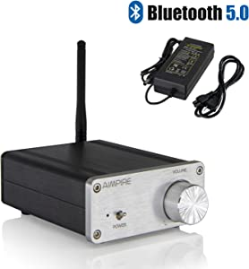 Mini Bluetooth Amplifier Desktop Receiver - Integrated 2 Channel Amp Class D Bluetooth 5.0 Home Audio Amplifier TPA3116 for Home Speakers 50W x 2 (with Power Supply)
