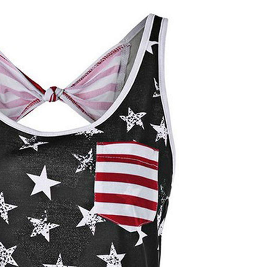 Bravetoshop Womens Sleeveless USA Flag Printed 4th of July Hollow Out Camisole Shirt Tank Tops Blouse
