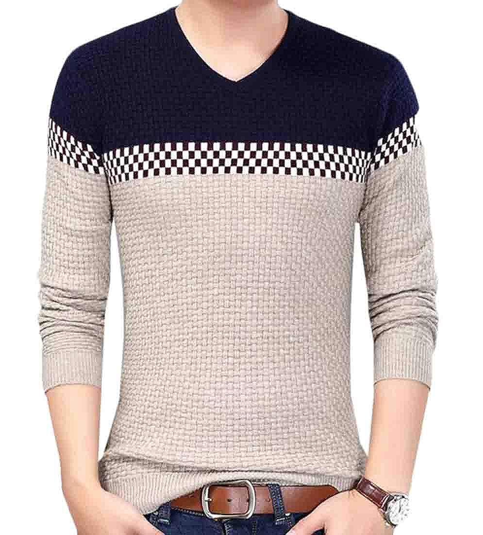 XiaoTianXinMen XTX Mens Fashion Long Sleeve V-Neck Jacquard Pullover Sweaters Knit Jumper