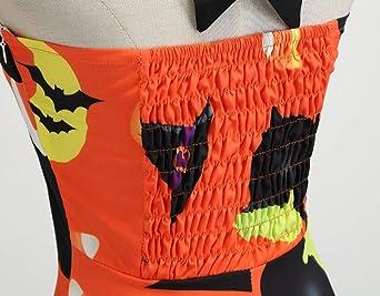 NPRADLA damska sukienka na Halloween, bez ramiączek, w stylu vintage, z nadrukiem, na wieczÓr, imprezę, swing, dla dziewcząt: Odzież