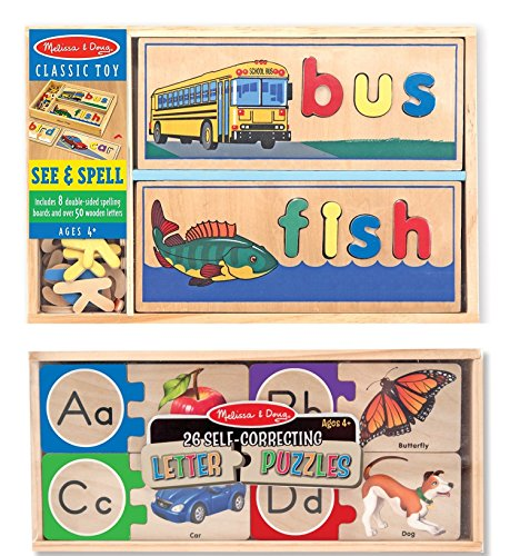 Melissa & Doug See & Spell Wooden Educational Toy With 8 Double-Sided Spelling Boards With Melissa & Doug Self-Correcting Alphabet Wooden (Self Teaching Board)