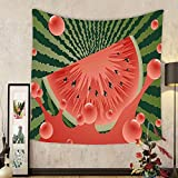 Gzhihine Custom tapestry Summer Tapestry Beach Fruit Vegetarian Garden Health Life Hot Season Image for Bedroom Living Room Dorm Olive Green Dark Coral Hunter Green