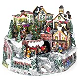 Best Choice Products 12in Pre-Lit Hand-Painted Tabletop Christmas Village Set w/Rotating Train, Fiber Optic Lights