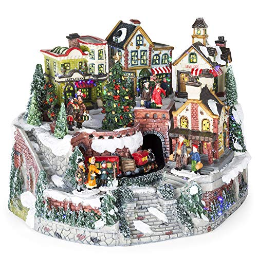 Best Choice Products 12in Pre-Lit Hand-Painted Tabletop Christmas Village Set w/Rotating Train, Fiber Optic ()