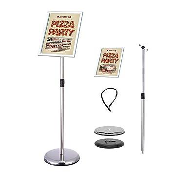 Soporte de pie para póster de pie con soporte para carteles, soporte para bodas, espectáculos, publicidad, etc, color plata A4