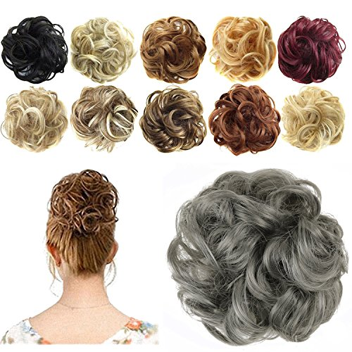 - FESHFEN Synthetic Hair Bun Extensions Messy Hair Scrunchies Hair Pieces for Women Hair Donut Updo Ponytail