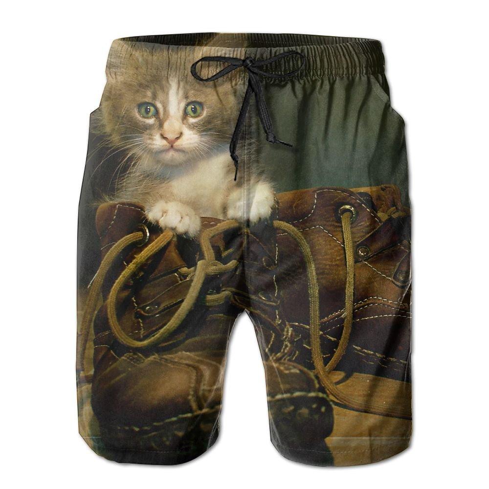 Creative Cat In Boots Design Beach Shorts For Mens Casual Elastic Waist Pockets Lightweight Beachwear Boardshort X-Large