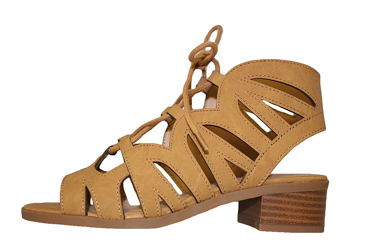 SODA Girls Cut Out Caged Open Toe Chunky Stacked Heel Bootie Mve Shoes mve Shoes Dalles II tan nb Size 2