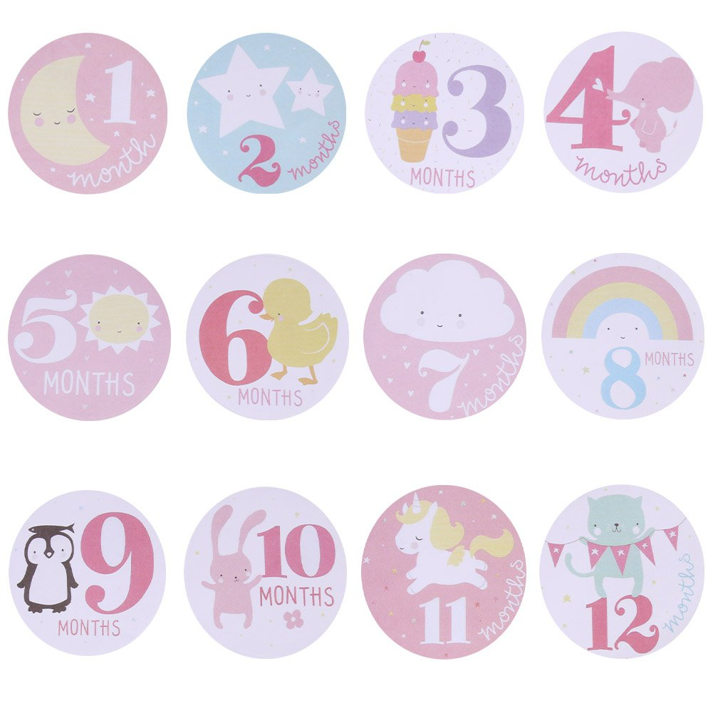 Matedield Baby Monthly Photograph Stickers Month 1-12 Milestone Stickers