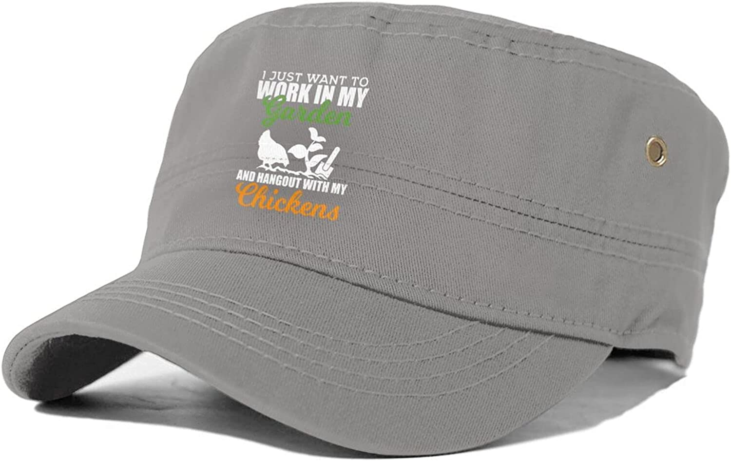 I Just Want to Work in My Garden Hangout with My Chickens Man's Woman's Unisex Adult Flat Cap Military Style Cap
