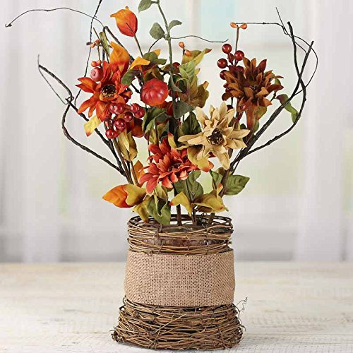 Fall Daisy Basket - Fall Artificial Daisy and Pumpkin Floral in Grapevine Twig Basket Planter for Arranging, Crafting and Embellishing