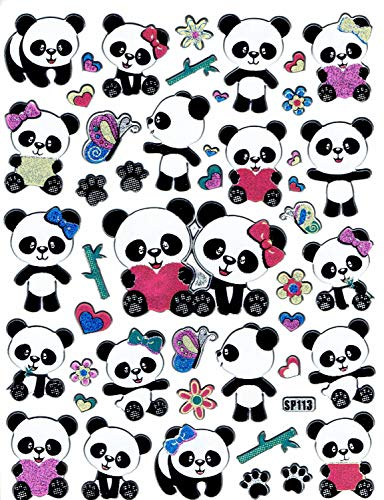 Panda Bear Animal Sticker Decal Metallic Glitter 1 Sheet Dimensions: 13,5 cm x 10 cm