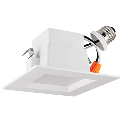 LB13134 4u201d LED Downlight Square Dimmable 10W (75W) Retrofit LED Recessed  sc 1 st  Amazon.com : retrofit recessed lighting - www.canuckmediamonitor.org