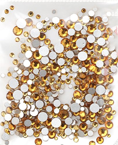 500 pcs Rhinestones Flat Back Artificial Gems Round Glass Crystal 6 Mixed Sizes 1.6-3.2 mm for Nail Art Phone Stationary Card DIY Flatback Glass Glue Fix GreatDeal68 (Topaz)