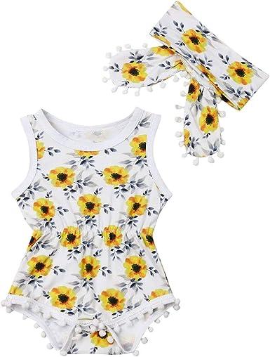 Newborn Kids Baby Girl Sunflower Romper Jumpsuit Bodysuit Clothes Outfit Summer