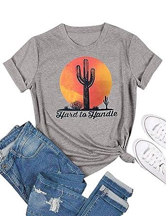34680c81 YAMDO Women Hard to Handle Cactus T-Shirt Short Sleeve Funny Casual Texas Graphic  Tee