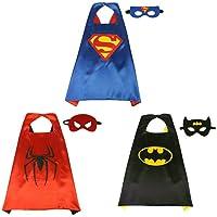 Costumes de Super Héros,Masque de Cape Super Heroes Enfants Déguisements Manteaux Garçons et Filles Jouets de Super-héros pour les Costumes D'anniversaire et les Enfants Partie
